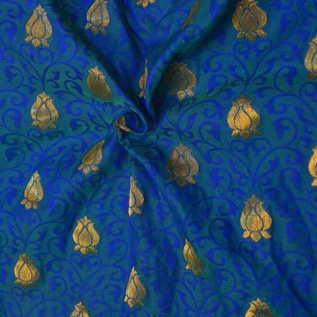 Blue and Golden Folwer Design Soft Brocade Silk Fabric-8116