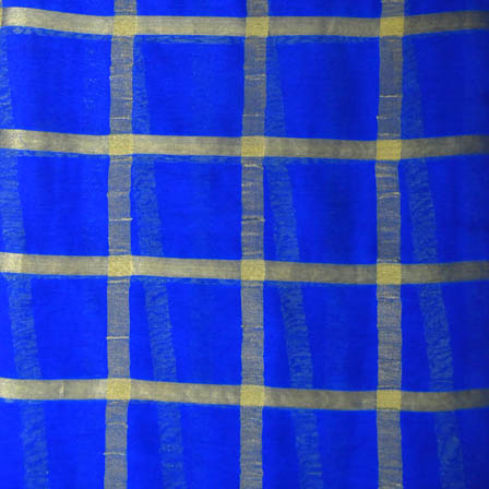 Blue and Golden Large Zari Checks Pattern Georgette Cotton Fabric-29009
