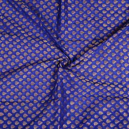 Blue and Golden Leaf Design Brocade Banarasi Silk Fabric-8479