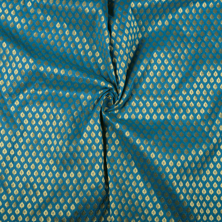 Blue and Golden Leaf Design Brocade Banarasi Silk Fabric-8481