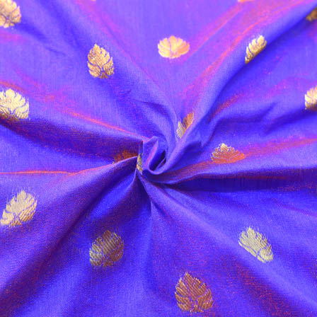 Blue and Golden Leaf Pattern Brocade Silk Fabric-8143