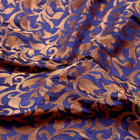 Blue and Golden Leaf Pattern Chanderi Silk Fabric-5458