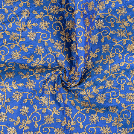 Blue and Golden Leaf Pattern Paper Silk Embroidery Fabric-60607