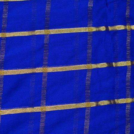 Blue and Golden Lining Pattern Chiffon Fabric-4367