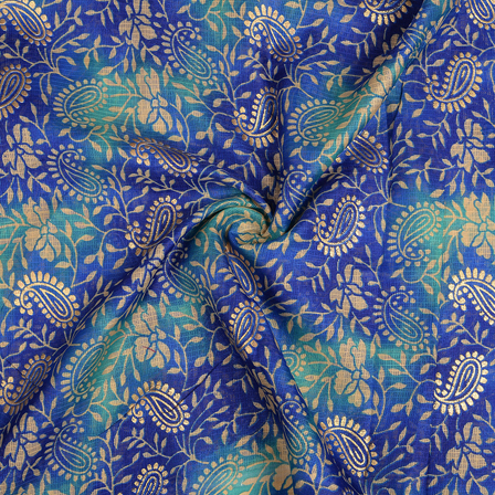 Blue and Golden Paisley Design Kota Doria Fabric-25094