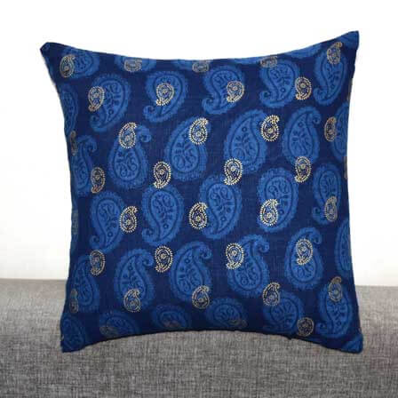 Blue and Golden Paisley Hand Block Print Cotton Cushion Cover