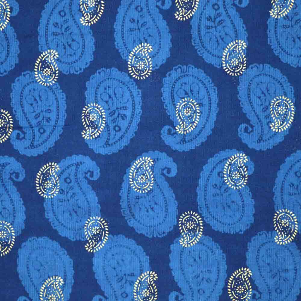 Blue and Golden Paisley Hand Block Print Cotton Fabric