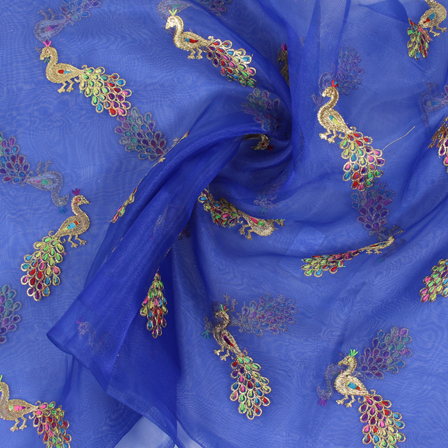 Blue and Golden Peacock Organza Embroidery Fabric-51421