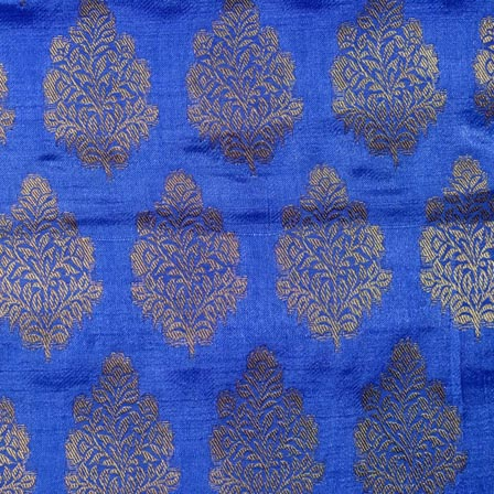 Blue and Golden Plant Pattern Brocade Indian Fabric-4283