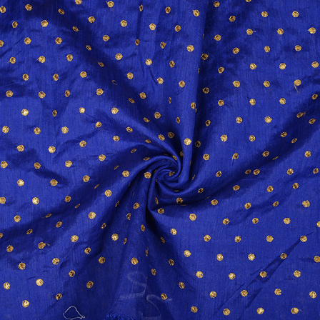 Blue and Golden Polka Design Silk Embroidery Fabric-60390