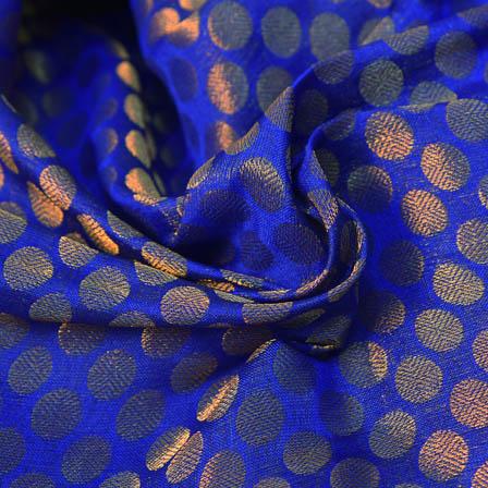 Blue and Golden Polka Design Brocade Silk Fabric-8206