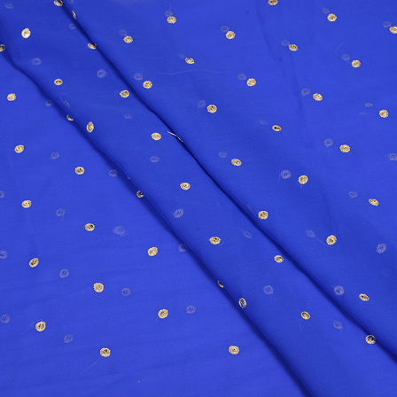 Blue and Golden Polka Pattern Embroidery Chiffon Georgette Fabric-60378