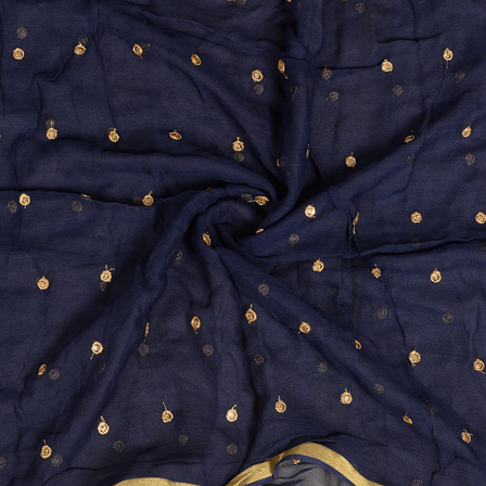Blue Golden Polka Embroidery Chiffon Georgette Fabric-60384