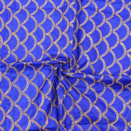 Blue and Golden Semi Circular Design Silk Embroidery Fabric-60139