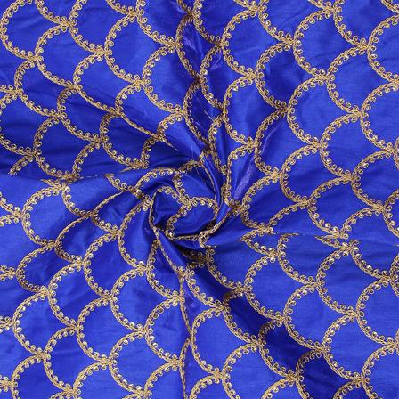 Blue and Golden Semi Circular Design Silk Embroidery Fabric-60224