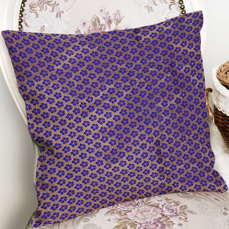Blue and Golden Silk Cushion Cover-35016