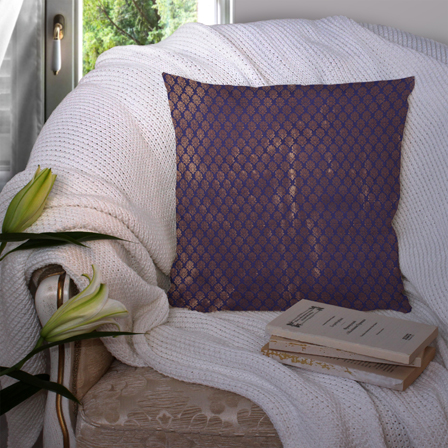 Blue and Golden Silk Cushion Cover-35045