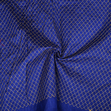 Blue and Golden Square Design Embroidery Silk Fabric-60391