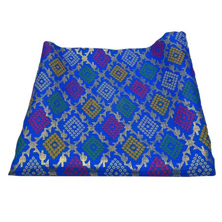 Blue and Golden Square Design Kota Doria Fabric-25008