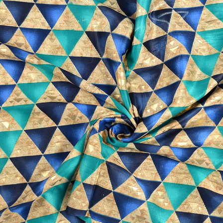 buy blue and golden triangle design jam cotton silk fabric 75055