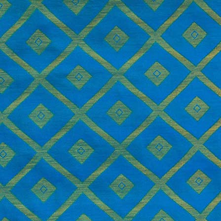 Blue and Golden Triangle Shapes Design Brocade Silk Fabric by the yard