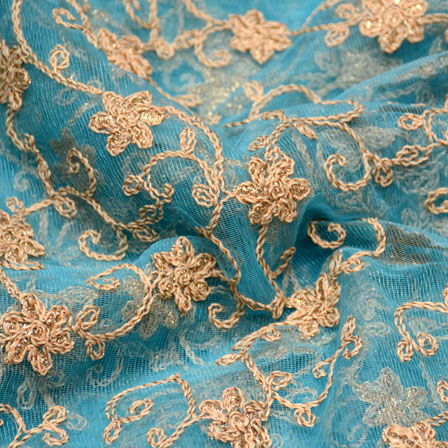 Blue and Golden flower Shape embroidery net fabric-5244