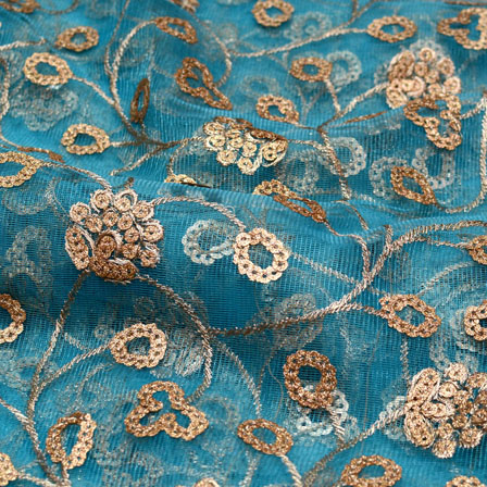 Blue and Golden leaf flower Shape embroidery net fabric-5225