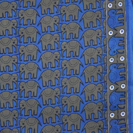 Blue and Gray Elephant Block Print Indian Cotton Fabric