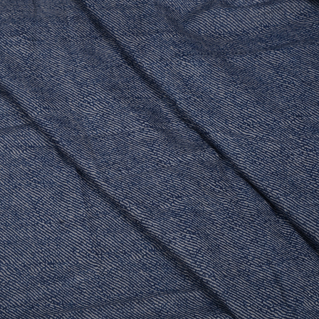 Blue and Gray Lining Design Hand Block Muslin Fabric-20005