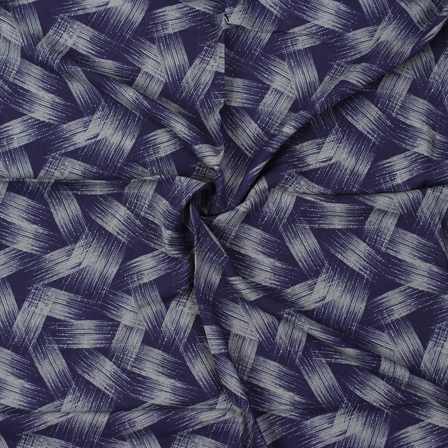 Blue and Gray Unique Pattern Block Print Rayon Fabric-15059