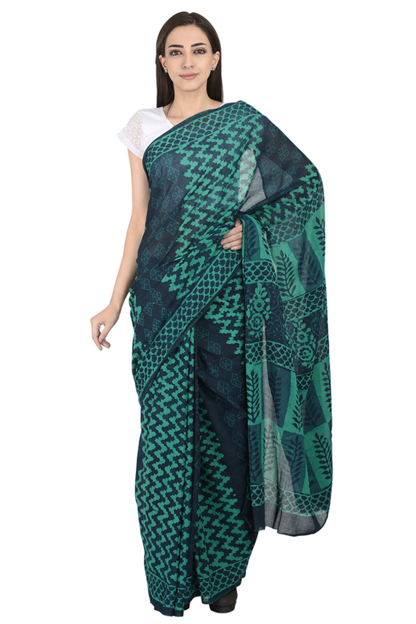 Blue and Green Cotton Block Print Saree-20100