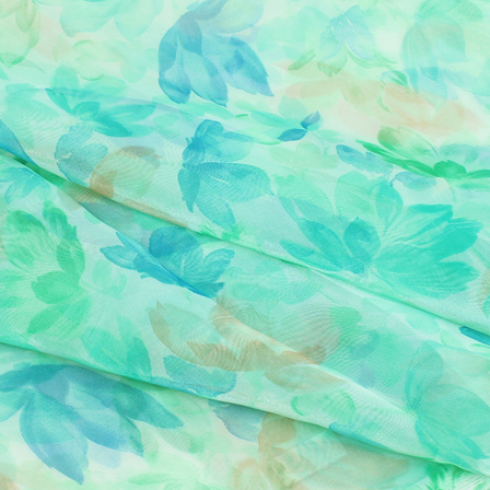 Blue and Green Floral Organza Silk Fabric-51096