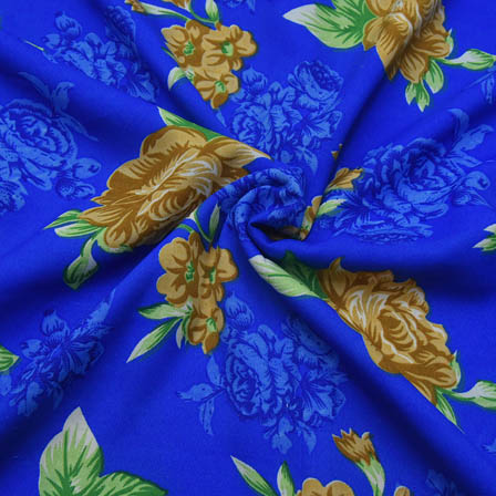 Blue and Green Flower Design Crepe Fabric-18042