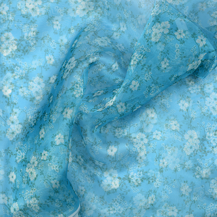 Blue and Green Flower Design Silk Organza Fabric-51021
