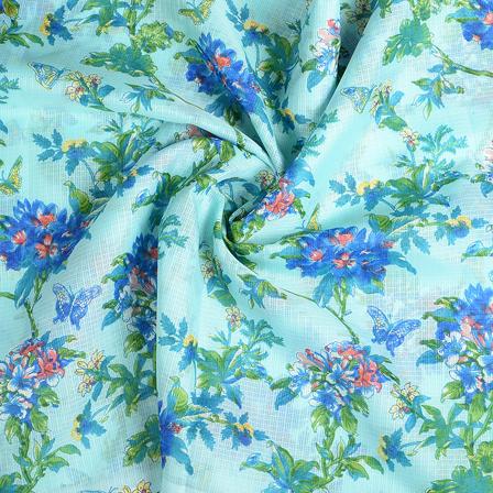 Blue and Green Flower Kota Doria Fabric-25113