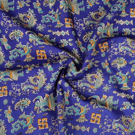 Blue and Green Paisley Pattern Manipuri Kalamkari Silk Fabric-16167