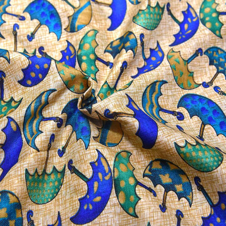 picture relating to Umbrella Pattern Printable identified as Blue and Environmentally friendly Umbrella Habit Upon Product Kalamkari Manipuri Silk-16148