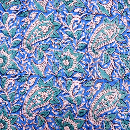 Blue And Green Paisley Block Print Fabric 5210