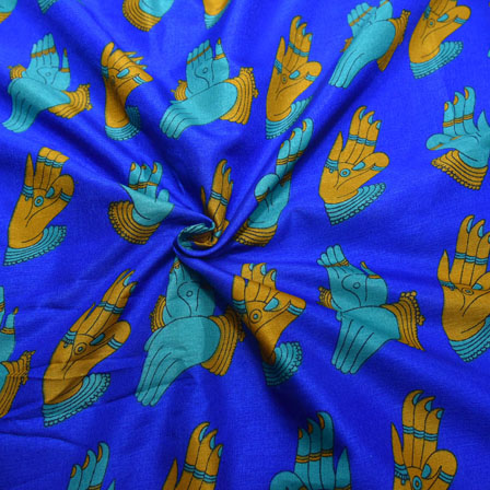 Blue and Mustard Yellow Hand Mudra Pattern Kalamkari Manipuri Silk-16131