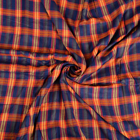 Blue and Orange Checks Rayon Shirt Fabric-40240