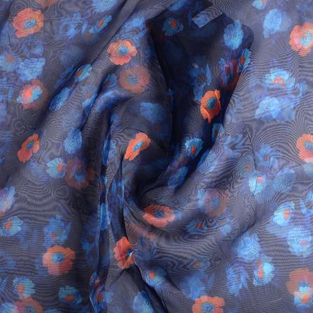 Blue and Orange Flower Digital Organza Fabric-51225