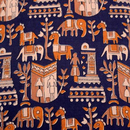 Blue and Orange Forest pattern Kalamkari-Screen Cotton Fabric-5494