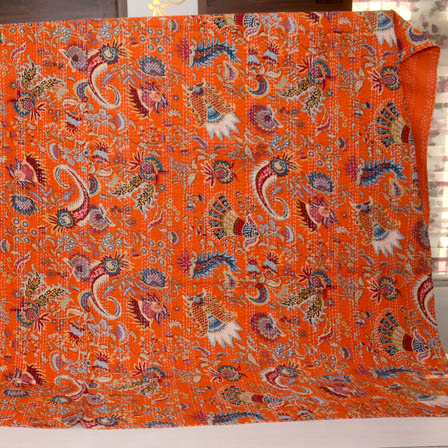 Blue and Orange Handmade Paisley Pattern Kantha Quilt-4349