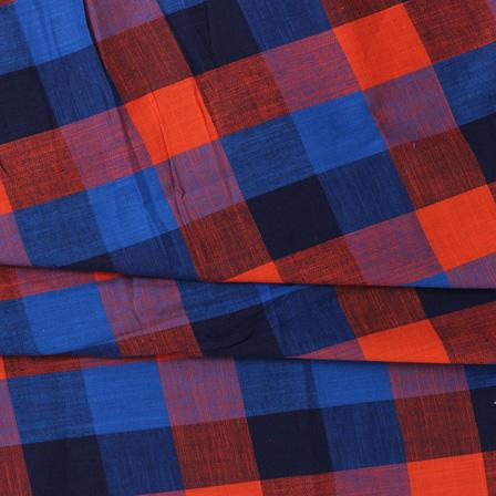 Blue and Orange Large Slub Checks Handloom Cotton Khadi Fabric-40045