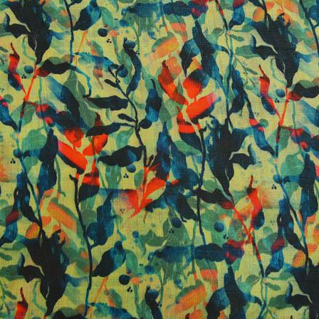 Blue and Orange Leaf Digital Print On Beige Silk Fabric-24019