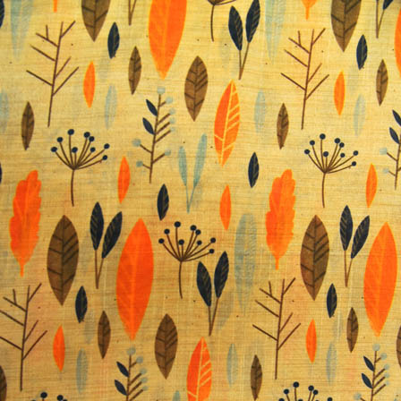 Blue and Orange Leaf Digital Print On Beige Silk Fabric-24035