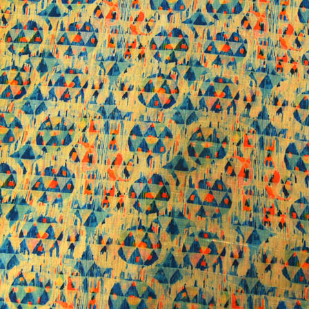 Blue and Orange Unique Digital Print On Beige Silk Fabric-24032