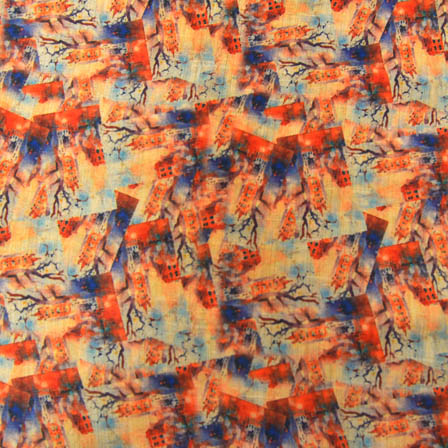 Blue and Orange Unique Digital Print On Beige Silk Fabric-24036