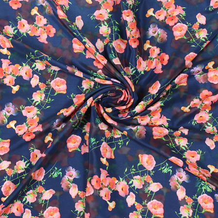 Blue and Peach Flower Silk Crepe Fabric-18143