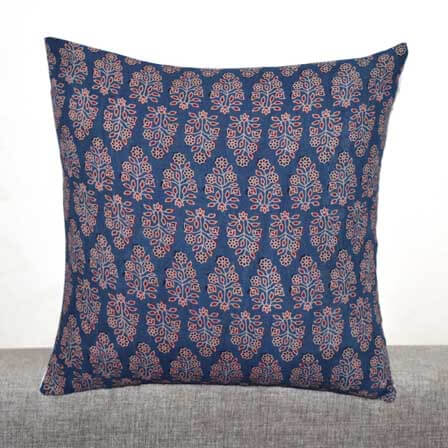 Blue and Pink Ajrakh Work Leaves Hand Block Print Cotton Cushion Cover